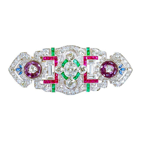 Art Deco Diamond Multi-gem Brooch - 4565 - TMW Jewels Co.