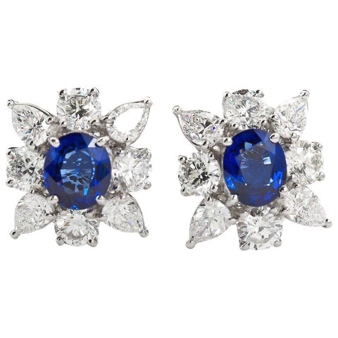 4.63 Carats Sapphire Diamond Cufflinks - - TMW Jewels Co.