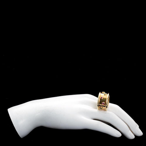 CHANEL Gold Wide Ring with Multi Color Gems - 4921 - TMW Jewels Co.