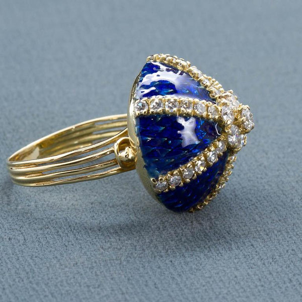 Vintage Diamond Blue Enamel Gold Dome Ring - 5018 - TMW Jewels Co.