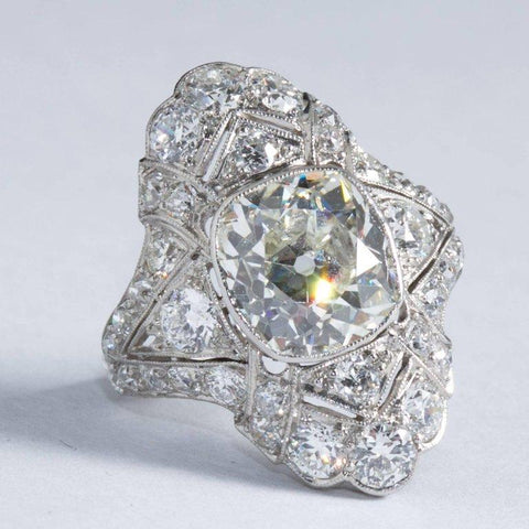 Art Deco 4.60 Carat Old Cushion Cut Diamond Platinum Ring - 5994 - TMW Jewels Co.