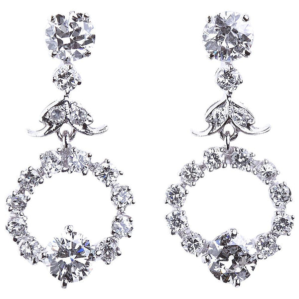Diamond Drop Hoop Design Earrings - 6236 - TMW Jewels Co.