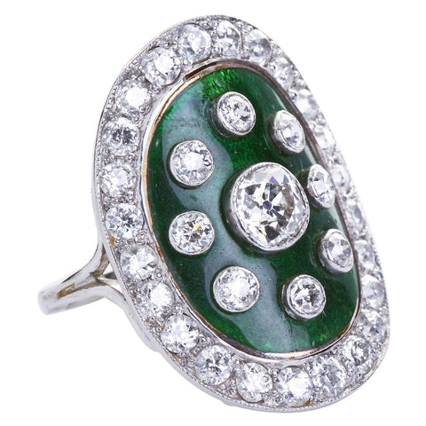 Art Deco Green Enamel Cloisonne Diamond Cocktail Ring - 6270 - TMW Jewels Co.