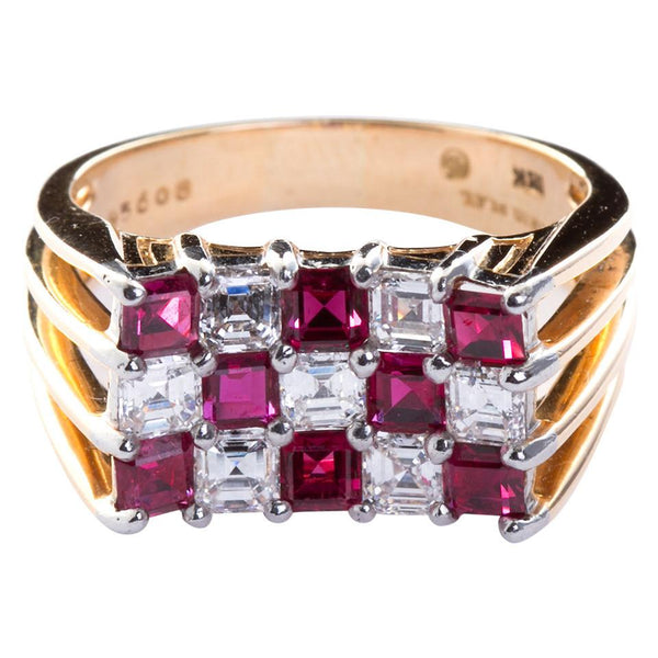 Oscar Heyman Ruby Diamond Gold Checkerboard Ring - 6331 - TMW Jewels Co.