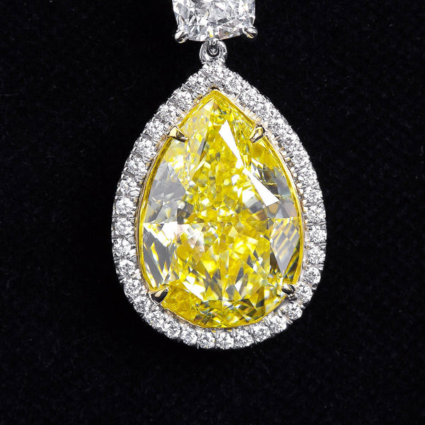 Twenty Carat Fancy Yellow Pear Shaped Diamond Dangle Earrings - 6488 - TMW Jewels Co.