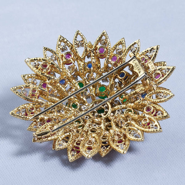 David Webb Multi Gem Ruby Emerald Sapphire Diamond Gold Flower Brooch - 6528 - TMW Jewels Co.