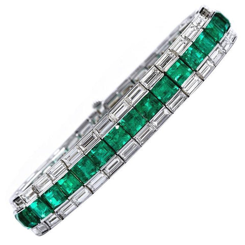 Colombian Emerald Diamond Line Tennis Bracelet - 6567 - TMW Jewels Co.