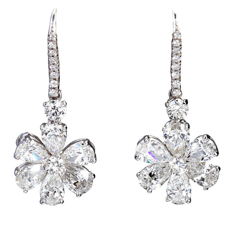 Pear Shape Diamond Platinum Flower Earpendants - 6610 - TMW Jewels Co.
