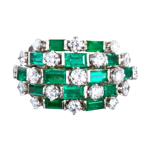 Fine Emerald Diamond Platinum Ring - 6630 - TMW Jewels Co.