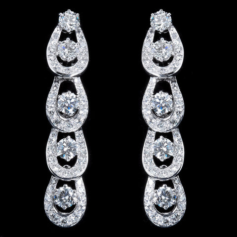 Mini Hoops Diamond Platinum Dangle Earrings - 6652 - TMW Jewels Co.