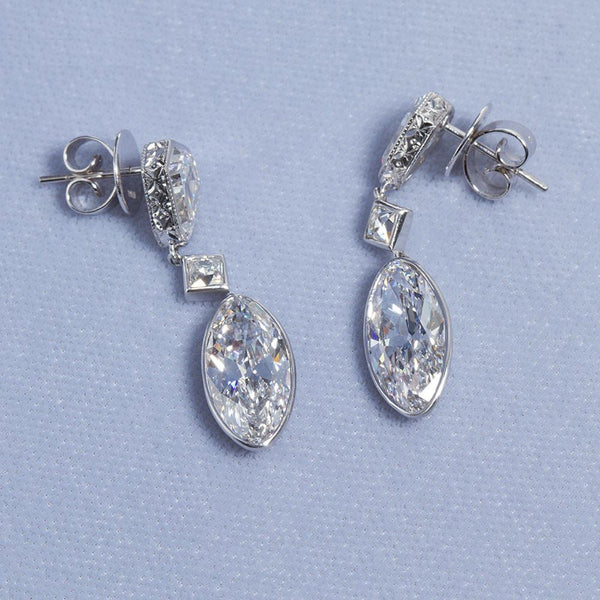 Art Deco Style Moval Diamond Platinum Drop Earrings 4 Carats Each D Internally Flawless - 6684 - TMW Jewels Co.