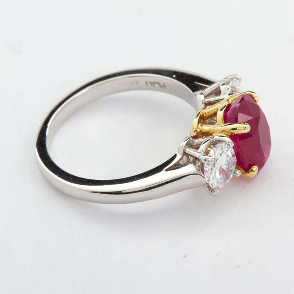 Oval Ruby Diamond Three-Stone Ring Burma No-Heat 2.64 Carat