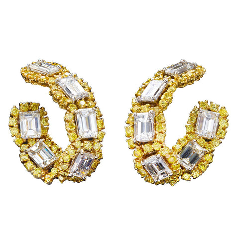 Yellow and White Diamond Gold Hoop Earrings 12.40 Carat - 6821 - TMW Jewels Co.