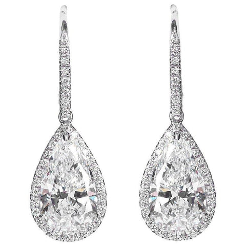 5.29 Carats Pear Shape Diamond Drop Pendant Earrings - 6858 - TMW Jewels Co.