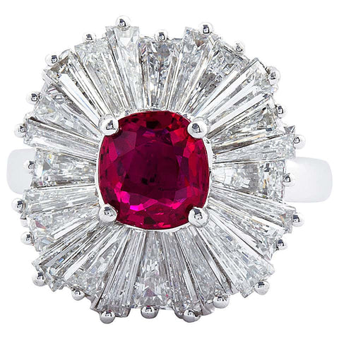 Cushion Cut Ruby Diamond Ballerina Ring 1.86 Carat