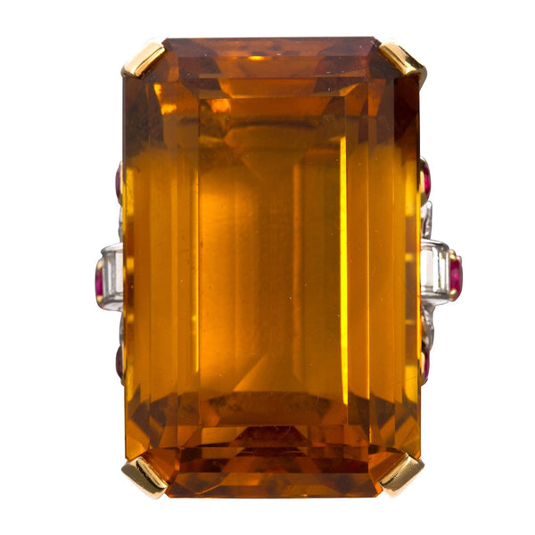 Large 75 Carat Citrine Art Deco Styled Ring - 7141 - TMW Jewels Co.