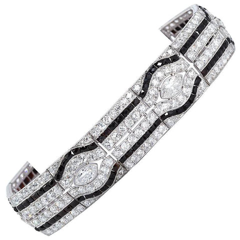Art Deco Diamond Onyx Bracelet - 7155 - TMW Jewels Co.
