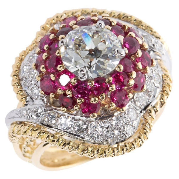 1.60 Carat 1960s Old European Cut Diamond Ruby Gold Cocktail Ring I color VS1 - 7172 - TMW Jewels Co.