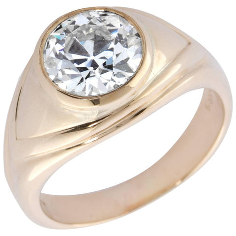 Old European Cut 2.86 Carat Diamond Gold Bezel Gypsy Ring - 7197 - TMW Jewels Co.