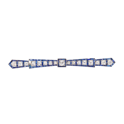 Art Deco Diamond Sapphire Platinum Bar Brooch Pin - 7212 - TMW Jewels Co.