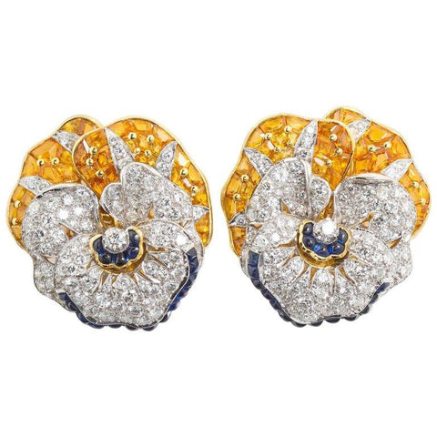 Oscar Heyman Diamond Blue Yellow Sapphire Pansy Earrings - 7270 - TMW Jewels Co.