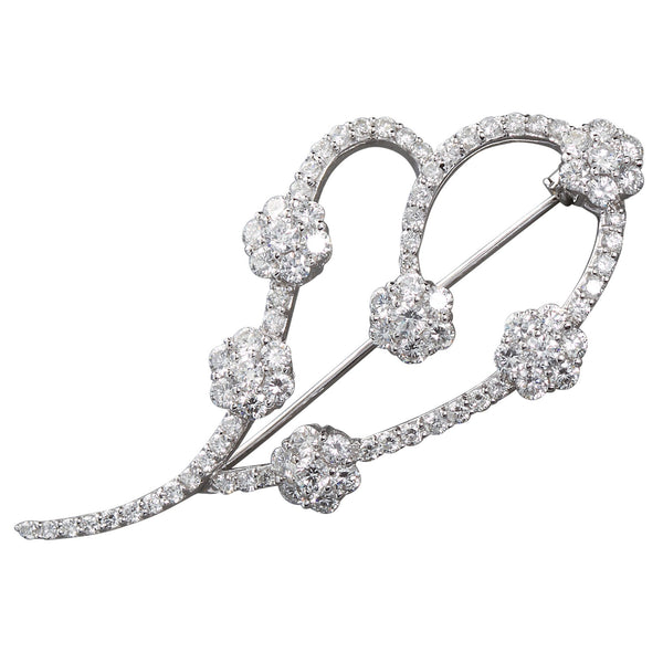 Diamond Florets White Gold Heart Swish Brooch - 7297 - TMW Jewels Co.