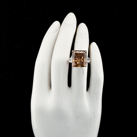 Twenty Carat Fancy Chocolate Brown Radiant Cut Diamond Ring CE - 7532-7531 - TMW Jewels Co.