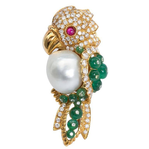 Semi-Baroque South Sea Cultured Pearl and Precious Gem Parrot Brooch - 7558 - TMW Jewels Co.