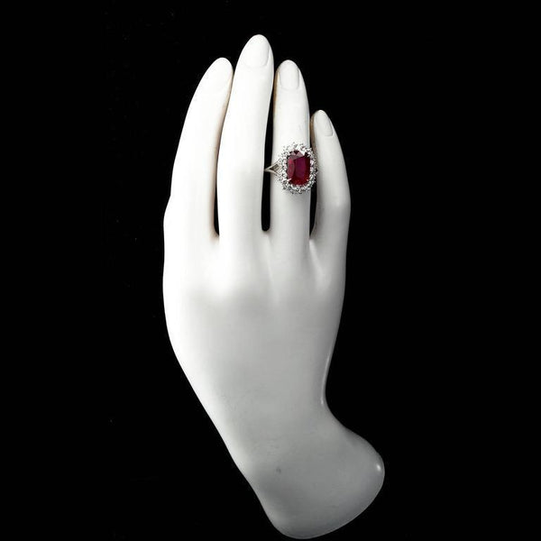5.95 Carat Cushion Cut Pigeon Blood No heat Ruby Ring GRS Cert - 7767 - TMW Jewels Co.