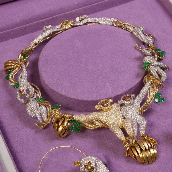 Suite of Monkey Themed Diamond Emerald Jewelry from Elizabeth Taylor Collection - 93417 - TMW Jewels Co.