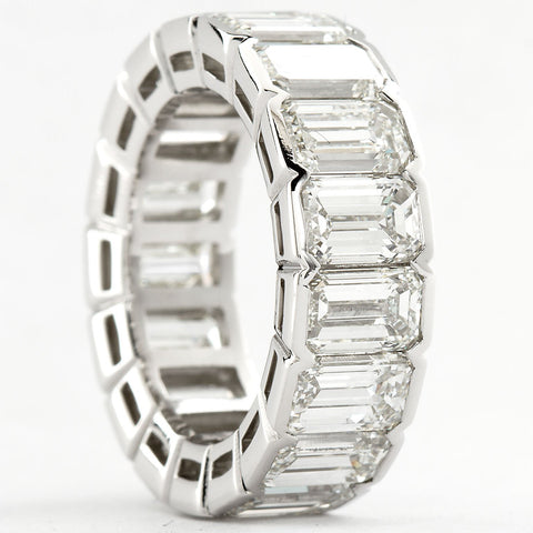 Platinum Emerald Cut Diamond Eternity Band 17 Diamonds 12.00 Carats GIA Certs - - TMW Jewels Co.