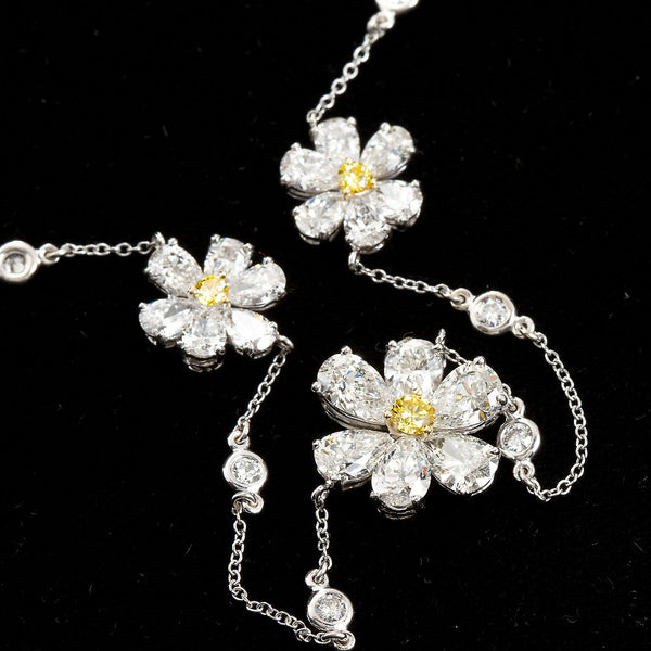 Three Flower Pendant Diamond Yard Necklace - - TMW Jewels Co.
