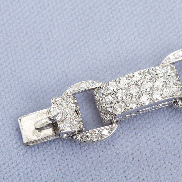 Art Deco French Diamond Link Pave Bracelet 18.50 Carats - TMWJ-1720 - TMW Jewels Co.