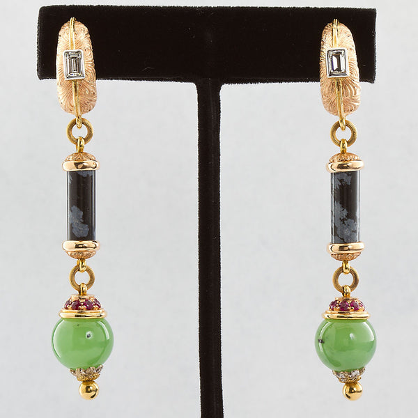 Cazzaniga Diamond Multi Gem Dangle Earrings - TMWJ-190506-4 - TMW Jewels Co.