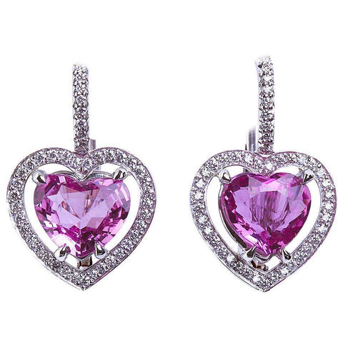Heart Shape No Heat Natural Pink Sapphire Diamond Halo Earrings GIA 3.66 Carat - TMWJ-3732 - TMW Jewels Co.
