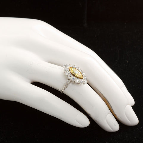 Art Deco Marquise Fancy Intense Yellow Internally Flawless Diamond Engagement Ring - TMWJ-3948 - TMW Jewels Co.