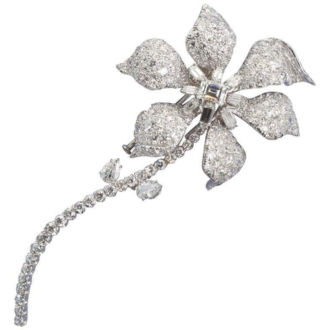 David Webb Diamond Long Stem Flower Brooch - TMWJ-3952 - TMW Jewels Co.
