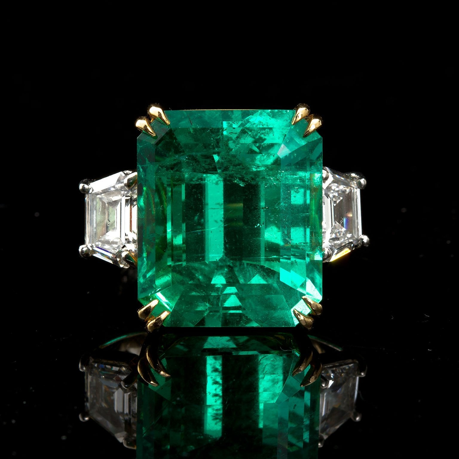 PATRICE Large Colombian Emerald Engagement Ring