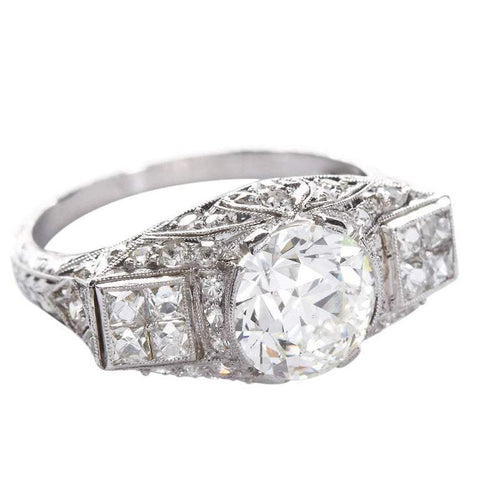 DANIELLE Art Deco 2.25 Carat Old European Cut Diamond Platinum Ring - TMWJ-6564 - TMW Jewels Co.