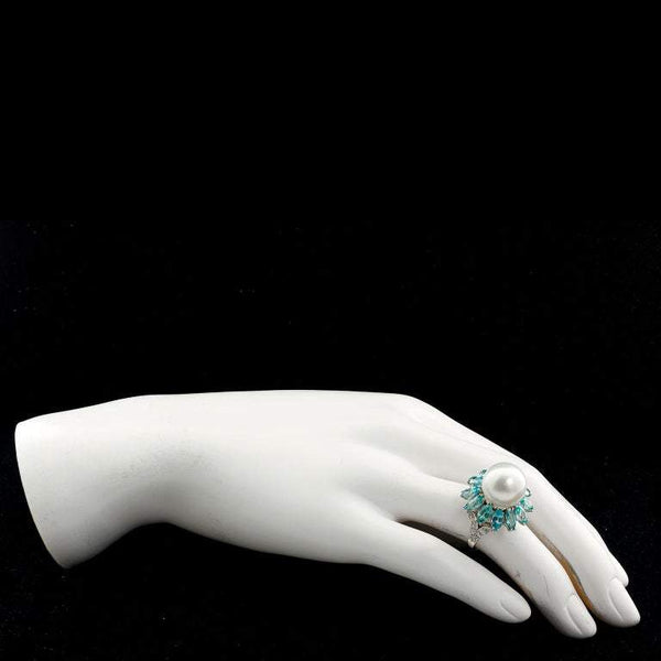 Ruser Cultured Pearl and Blue Zircon Cocktail Ring - TMWJ-7637-1 - TMW Jewels Co.