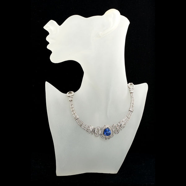 Art Deco Sapphire Diamond Platinum Necklace GIA Cert No Heat 15 Carat - TMWJ-7650 - TMW Jewels Co.