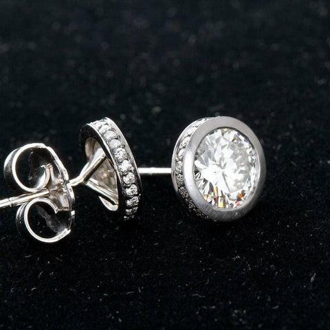 3.00 Carat GIA Certified Diamond Brushed Platinum Stud Earrings - TMWJ-7837 - TMW Jewels Co.