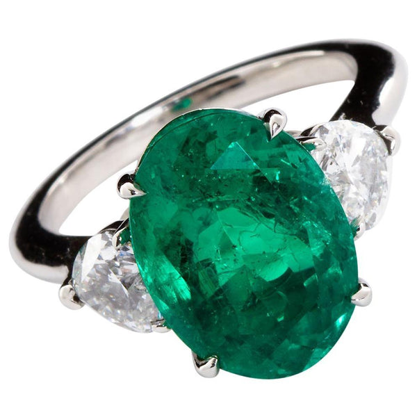 Oval Colombian Emerald Diamond Hearts Side Stones Engagement Ring 6.60 Carat - TMWJ-8526 - TMW Jewels Co.