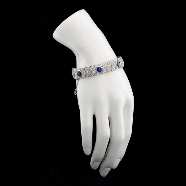 Art Deco French Diamond Unheated Burmese Oval Sapphires 25 Carats - TMWJ-8565 - TMW Jewels Co.