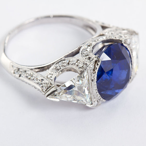 Vintage Unheated Sapphire Trillion Diamond Engagement Ring 6.26 Carat - TMWJ-8649 - TMW Jewels Co.