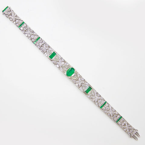 Gattle & Co Art Deco Colombian Emerald Diamond Bracelet - TMWJ-8667 - TMW Jewels Co.
