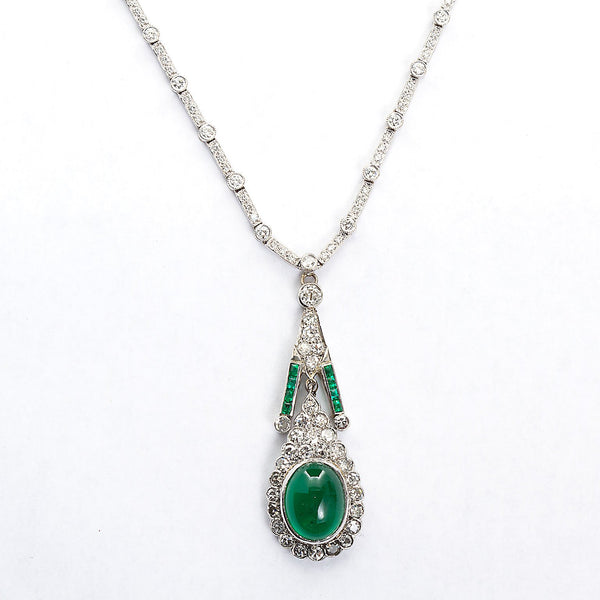 Art Deco Cabochon Emerald Diamond Pendant Necklace - TMWJ-8668 - TMW Jewels Co.
