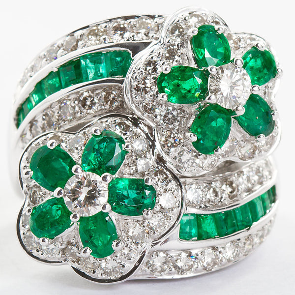 Emerald Diamond Twin Flower Ring, 9.00 Carat - TMWJ-8809 - TMW Jewels Co.