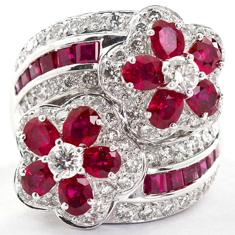 Ruby Diamond Twin Flower Ring, 9.00 Carat - TMWJ-8810 - TMW Jewels Co.