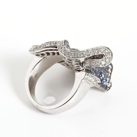 Salavetti Sapphire Diamond Gathered Ribbon Cocktail Ring - TMWJ-8820-1 - TMW Jewels Co.